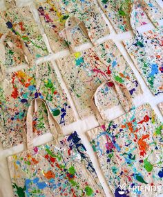 Splatter paint bags made with acrylic paint.       Gloucestershire Resource Centre http://www.grcltd.org/scrapstore/