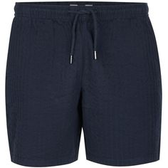 TOPMAN Navy Seersucker Pull On Shorts ($36) ❤ liked on Polyvore featuring men's fashion, men's clothing, men's shorts, navy, old navy mens clothing, mens seersucker shorts, old navy mens shorts and mens navy blue shorts