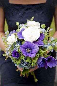 Purple anemone bouquet by Roses Florists. Photo by Lavara Photography. Via www.flamingpetal.co.nz.