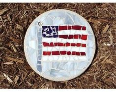An American flag mosaic stepping stone is a patriotic addition to your garden.  Best of all it is made in the USA.