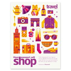 Full page illustration and a set of icons accompanying an article in the Sunday Times Travel magazine about shopping.