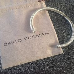 David yurman bracelet 55mm prasiliote cable bracelet with 14 diamonds never worn in perfect condition**needs to be shined David Yurman Jewelry Bracelets