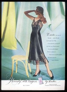 Heavenly silk black slip by Fischer / Divine D'Orsay new star ad 1948 Vintage Bra, Vintage Lingerie, 1940s Fashion, Vintage Fashion, Women's Fashion, Photo Print, Classic Lingerie, Silk Slip, Lace Slip