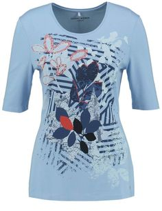T-shirt Gerry Weber Summer Breeze 3/4 mouw sky licht blauw effen print vooraan