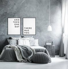 Couples print Love print And then one day there was you Love quote Love poster Bedroom decor Bedroom print Anniversary gift set