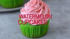 Make these fun summer watermelon cupcakes! Bright green cupcakes with buttercream frosting that tastes like watermelon! Add mini chocolate chips for the watermelon seeds! Serve these cupcakes at a one in a melon themed party! Baby Shower Watermelon, Watermelon Birthday Parties, Fruit Birthday, Girl Birthday Party Themes, Watermelon Party Decorations, Watermelon Dessert, 1st Birthday Cupcakes, Watermelon Crafts, Birthday Sheet Cakes