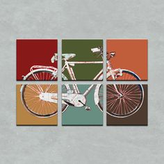 This is cool!  The bicycle is made up of a road map!! Doesn't exactly go with our decor, but very fun! -San Francisco Map Retro Bicycle Six Panel Canvas Giclee