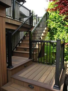 WOLF deck that was completed by The Deck Store in Mississauga, Ontario…. WOLF deck that was completed by The Deck Store in Mississauga, Ontario. WOLF deck that was completed by The Deck Store in Mississauga, Ontario…. Outdoor Stairs, Deck Stairs, Deck Railings, Stair Railing, Railing Ideas, Outdoor Decking, Pvc Decking, Outdoor Rooms, Black Railing