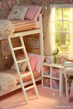 Lovely room with bunk beds and lots of lighting