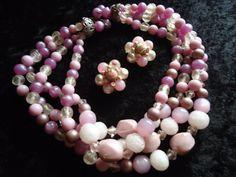 SALE Vintage Purple 4 Strand Beaded Necklace by MartiniMermaid