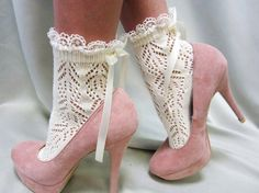 "Vintage Crochet Lace Free Patterns | Lace socks for heels CREAM Baby doll, 80""s inspired retro crochet lace ..."