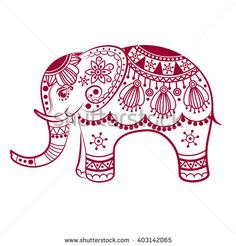 Hand drawn vector illustration with traditional oriental floral elements. Find elephants Stock Images in HD and millions of other royalty-free stock photos, illustrations and vectors in the Shutterstock collection. Madhubani Art, Madhubani Painting, Embroidery Patterns, Hand Embroidery, Machine Embroidery, Elefant Design, Elephant Coloring Page, Hand Tats, Elephant Pattern