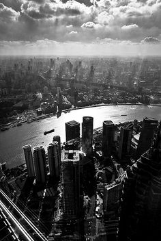 Lujiazui: Skyline of Shanghai, China in Black & White