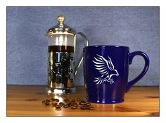 Eagle Coffee Mug - Etched 17 oz Coffee Mug - Large Tea Cup - Ceramic Coffee Mug - Wolf Howling at the Moon - pinned by pin4etsy.com