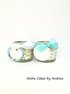 Mason Jar Wedding or Baby Shower Favor, Bridal Shower Favor in a Jar Personalized Wedding Ideas, Aqua/Turquoise/Teal/Tiffany/White, Set of 4