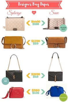 Best designer bag look a likes. I love all of these! These are so great for anyone who loves fashion but is on a budget (or if you don't have $2k to spend on a purse!) #designerlooksforless #save #budget #fashion