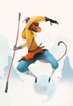 Monkey King (speedpainting) by Sidxartxa on DeviantArt Monkey Illustration, Character Illustration, Graphic Design Illustration, Monkey Art, Monkey King, Character Concept, Concept Art, Character Design, The Legend Of Monkey