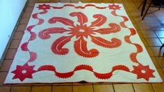 Fabulous 1870 Red White Princess Feather Applique Quilt Hand Quilted
