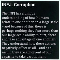 I think everyone sees this dark side of humanity but infjs seem to be the ones having existential crises over it lol Rarest Personality Type, Infj Personality, Myers Briggs Personality Types, Phlegmatic Personality, Infj Mbti, Intj And Infj, Isfj, Infj Traits, Mantra