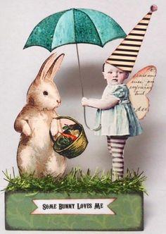 by *stella_bella* on eBay... Fairy Bunny EASTER vtg Prim Mixed Media Altered Folk aRt Hand Made Collage ooak