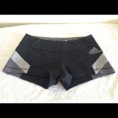 "ADIDAS CLIMALITE SHORTS SIZE MEDIUM Adidas Climalite size medium.  Front length 8"", rear length approximately 10"".  Black and grey color.  Top opening approximately 14"".  Polyester 89% and 11% Spandex. Adidas Shorts"