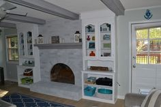 How to paint a brick fireplace a natural looking gray, for a beachy feel. BLOG