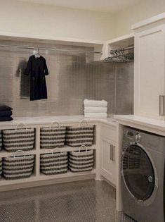 40 Inspiring Laundry Room Design Ideas that Will Make You Impressed modern farmhouse laundry room with laundry room organization, laundry room storage, neutral laundry room with open shelves Laundry Room Tile, Tiny Laundry Rooms, Laundry Room Remodel, Laundry Room Cabinets, Farmhouse Laundry Room, Laundry Room Storage, Storage Room, Storage Ideas, Storage Shelves
