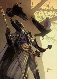 Odin with Hugin and Munin- nice Valknut on his belt
