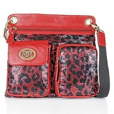 Sharif Printed Sequin Crossbody Bag with Adjustable Strap