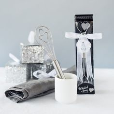 "Be ""whisked away"" with this adorable utensil. Each stainless steel whisk has a heart topped handle, perfect for a recipe exchange as bridal shower favors or a romantic wedding favor. Each mini whisk is gift wrapped in a clear topped box. Romantic Wedding Favours, Wedding Favor Sayings, Handmade Wedding Favours, Wedding Shower Favors, Wedding Favors Cheap, Baby Shower Favors, Party Favors, Romantic Weddings, Wedding Reception"