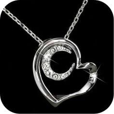 18k white gold gp SWAROVSKI crystal heart moon pendant wedding necklace