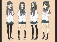 Anime school girl hair styles                                                                                                                                                                                 Mais