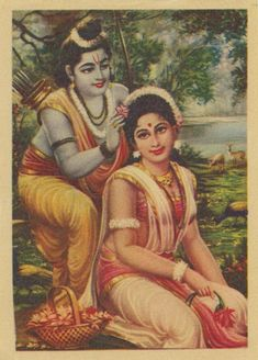 Rama and Sita together as he places a flower in her hair. 1960/70s. Light paper, image color good. Paper Size: 4.75 by 3.5 inches. $4 domestic shipping, overseas $10. Flat rate for any number of prints.