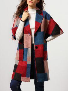 Abrigo solapa manga media bolsillos lanero -multicolor 64.61