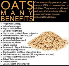 Learn about some of the major Health Benefits of Oats. According to the latest report from the researches, oats have five health benefits which are little-known to people. Health And Wellness, Health Tips, Health Fitness, Holistic Nutrition, Nutrition Data, Fitness Sport, Sports Nutrition, Health Facts, Healthy Nutrition