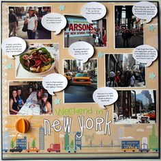 new york city scrapbook layouts - Yahoo Image Search Results Travel Scrapbook Pages, Vacation Scrapbook, Scrapbook Page Layouts, Scrapbook Paper Crafts, Scrapbook Cards, Paper Crafting, New York Scrapbooking, Scrapbooking Ideas, Travel Album