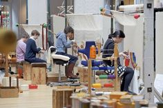 Dovecot tapestry weavers in action.  Photo by Kieran Dodds