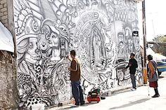 Cholos de San Juan Tehuixtitlán plasman la cultura de México en murales