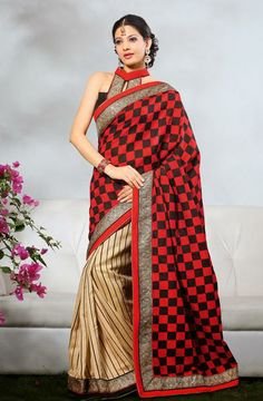 USD 42.63 Black and Brown Printed Party Wear Saree  31896