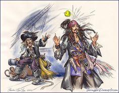 Idea. Captain Jack Sparrow and Hector Barbossa. Paper, brush, watercolor, tempera, black pencil.