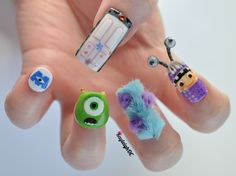 I'll admit to some indulgence in glittery purple nail polish at summer camp, but this sort of nail painting is just. Drawing inspiration from pop culture, KayleighOC sculpts and paints these little artworks and snaps a photo before they break. Monster University Nails, Monster Inc Nails, Purple Nail, Colorful Nail, Monsters Inc, Disney Monsters, Scary Monsters, 3d Nails, Cute Nails