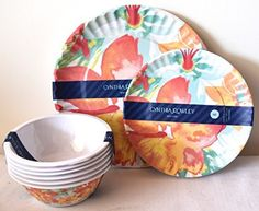 Cynthia Rowley Home Lightweight Tropical Hibiscus Flower Print Melamine Dinnerware