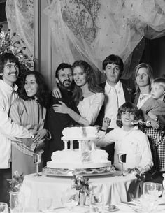Ringo Starr and Barbara Bach's wedding, with George and Olivia, Paul, Linda and children, 27 April 1982