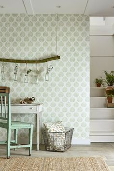 Lovely Sanderson wallpaper design featuring hand pressed leaves in a lovely celadon green.