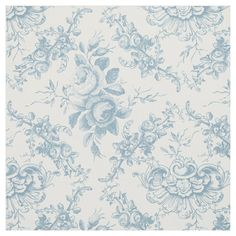Elegant Engraved Blue and White Floral Toile Fabric