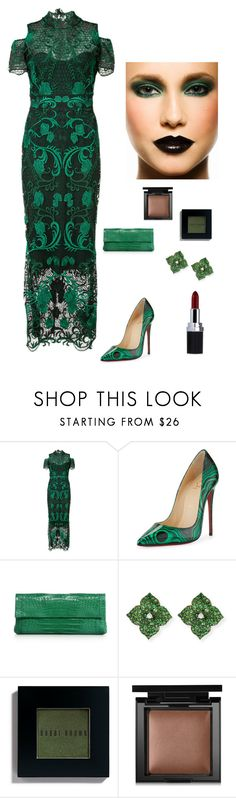 """""""Beautiful in Green"""" by kotnourka ❤ liked on Polyvore featuring Notte by Marchesa, Christian Louboutin, Nancy Gonzalez, Piranesi, Bobbi Brown Cosmetics and Bare Escentuals"""