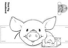 Craft a Three Little Pigs and the Wolf Headband/ Pig with a House of Wooden Sticks. by Luisa Robles Three Little Pigs and the Wolf Farm Animals, Cute Animals, Fairy Tale Crafts, Wolf Hat, Farm Unit, Pig Drawing, Three Little Pigs, Classroom Projects, Farm Theme
