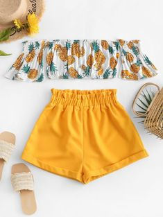 Off Shoulder Pineapple Top And Paperbag Shorts Set YELLOW , Source by tigerigbig outfits verano Girls Fashion Clothes, Teenage Girl Outfits, Kids Outfits Girls, Teenager Outfits, Summer Fashion Outfits, Cute Fashion, Style Fashion, Cute Summer Outfits For Teens, Trendy Fashion
