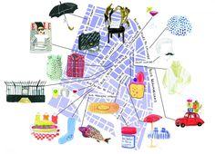 Bonjour Paris map - Marin Montagut