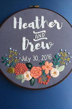 This custom embroidery design is perfect for your wedding decor and to remember the big day. Its also a great gift if you are looking for something unique and personal to give. ---CUSTOMIZE--- «Personalized text (names, dates) «Custom color scheme (fabric and thread) «Florals NOT